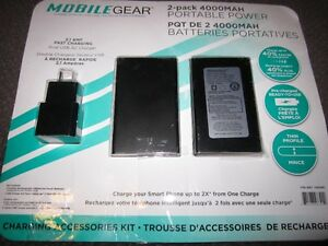 MobileGear 2-Pack 4000MAH Portable Power Packs - New, Open Pack