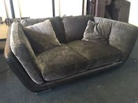 Ex Littlewoods grey fabric and leather 3 and 2 seater sofa set three plus two