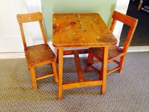 Antique Rustic Childrens Table and Chair Set