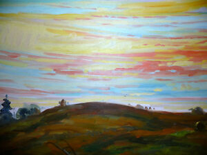 "Vintage Oil by Peter Stoyan (Stoyanoff) ""Sunset"", AOCA, 1952 Stratford Kitchener Area image 3"