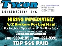A/Z Brokers - Urgently Needed - Log Haul - White River, ON