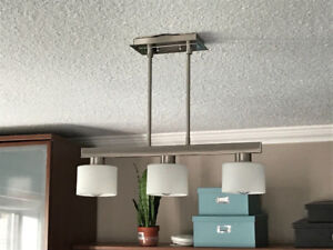 3 Light Pendant Fixture - Brushed Nickle & Frosted Glass