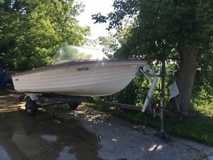 16 ft Fiberglass boat with trailer