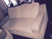 Sofa - white corduroy and leather
