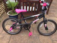 "Avigo 20"" BMX Spin kids Bike with added pink saddle and stunt pegs"