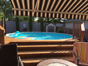 21' Round Above Ground Pool with all accessories for sale.