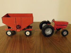 Vintage ERTL Red Farm Tractor with Hopper Trailer