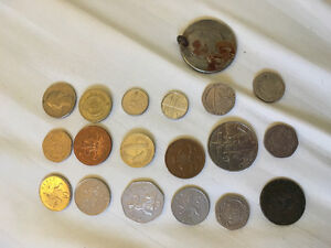 Various coins mostly European