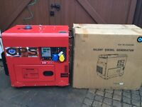 NEW DIESEL SILENT GENERATOR ELECTRIC START PLUS REMOTE CONTROL 5.7 to6.2 KVA