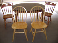 SOLID WOOD 4 CHAIRS, AND TABLE