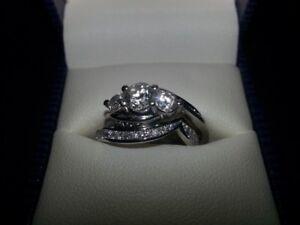 AMAZING 14K white gold/1.5 ct diamond engagment/wedding band set