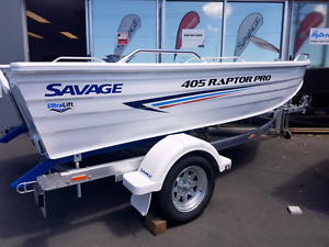 SAVAGE RAPTOR PRO 405 30HP 4 FOUR STROKE MERCURY BOAT AND SAVAGE Capalaba Brisbane South East Preview