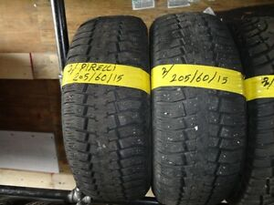 2 WINTER TIRE PIRELLI 205/60/R15 85% TREAD