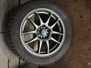 Used winter tires with alloy rims Kitchener / Waterloo Kitchener Area image 1