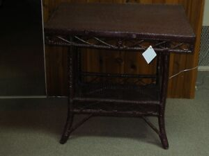 Vintage wicker Side Table with Shelf Great for a Sun Room