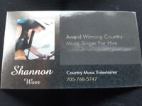 Award Winning Country Music Singer For Hire