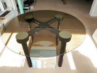 European black glass & metal table set