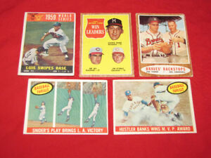 Five Vintage Topps cards, 1959-62, incl. Banks, Snider action