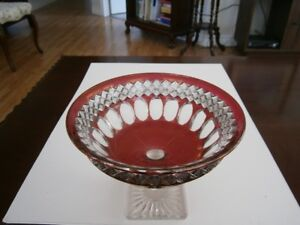 SUPERB CRANBERRY GLASS FOOTED BOWL