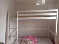 White wooden loft bed