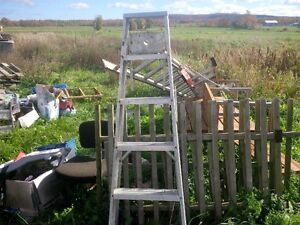 1 step ladder and 3 extension ladders