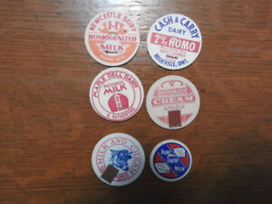 6 Vintage / Antique Milk Bottle Caps / Tops- $ 2.00 lot