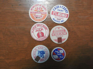 6 Vintage / Antique Milk Bottle Caps / Tops- $ 3.00 lot