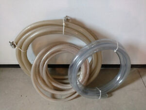 3 Coils Of Plastic Hose / Tubing: 2 Braided, One Clear