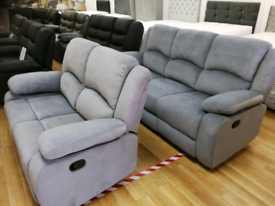 *EX-DISPLAY* Grey/Silver 3+2 seater recliner sofas delivery available