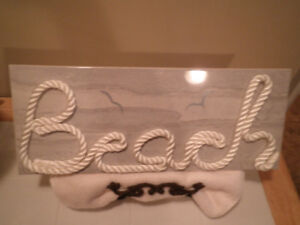 Italian Porcelain - BEACH - sign - stands included!