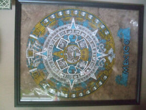 Mexican Brass/copper plates (11 inch) & Print in frame