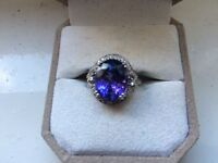 Tanzanite and diamond 18k White gold Lorique ring 7.58cts