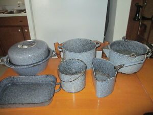 2  Blue Graniteware pieces