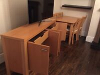 Oak sideboard and Dining table and chairs