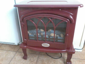 VERMILLION ELECTRIC CRANBERRY COLOR  STOVE HEATER WITH  FLAMES