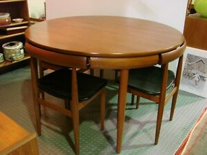 1970s Round Frem Rojle Teak Table 4 Chairs Mid-Century Denmark