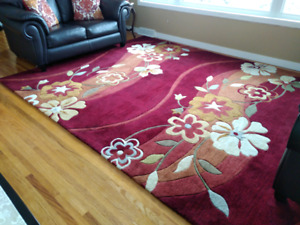 Vibrant 8'x10' Area Rug, 4 Coordinating Pillows and Artwork