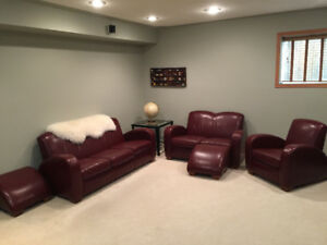 Genuine Leather Sofa, Chair, Loveseat & Footstools