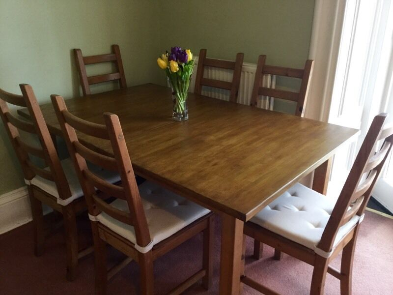 Dining table and six chairs for salein Bruntsfield, EdinburghGumtree - Lovely wooden dining table for sale along with six chairs and cream seat covers