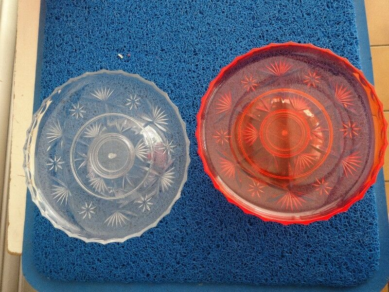 Red Transparent Prayer Serving/Offering Tray complete with base