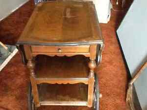 Antique wooden tea cart table