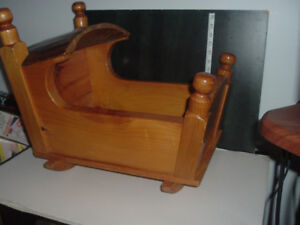 1981 Baby Rocking Cradle solid wood hand made, more for display