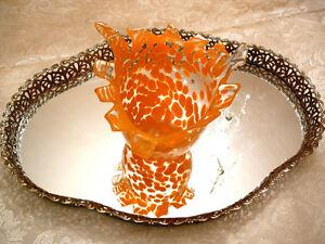 Mignon vase style Murano 17x15cm, baluchon verre soufflé, orange