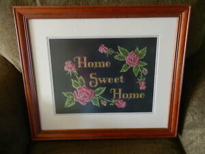 "Professionally framed ""Home Sweet Home"" Cross Stitch picture."