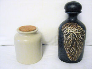 TWO POTTERY JUGS / CONTAINERS WITH STOPPERS EXCELLENT CONDITION