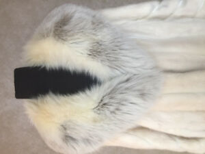 Luxury Vintage White Mink and Leather Fur Coat with Fox Collar