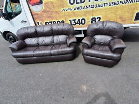3&1 seater sofa in brown leather £199 very good condition