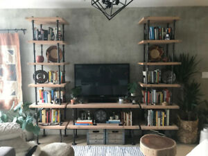 Custom Industrial Bookcases & Media Console