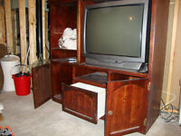 TV Stand - Wooden Entertainment Unit with Storage