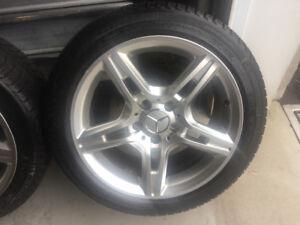 4 pneus hiver 225/45r17 Michelin Xice3/ mags 5x112 Mercedes c300